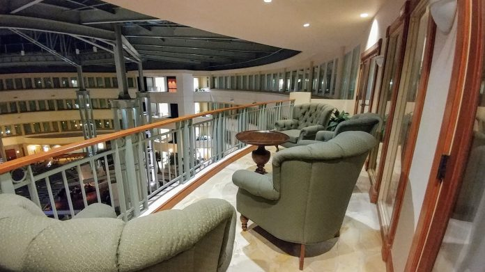 Atrium balcony of the presidential suite at the Hilton Austin Airport.
