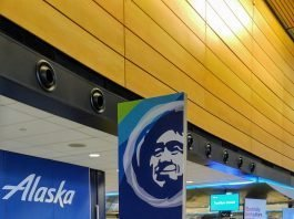 Alaska Airlines ticket counter at Seattle-Tacoma International Airport (SEA).