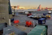 An American Airlines Airbus A321 Jet Parked at Gate B6 at Boston Logan International Airport (BOS)