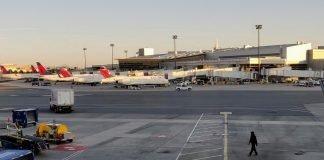 Delta Air Lines jets at Terminal A at Boston Logan International Airport (BOS)